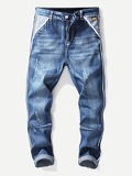 Men Striped Detail Destroyed Jeans