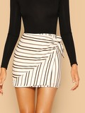 Tie Side Striped Wrap Skirt
