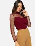 Mock Neck Keyhole Back Dot Mesh Shoulder Top