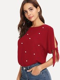 Knot Slit Sleeve Pearl Beaded Blouse