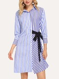 Striped Single Breasted Knot Side Dress