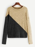Contrast Panel Colorblock Sweater