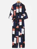 Eye And Lip Print Drawstring Waist Patchwork Jumpsuit