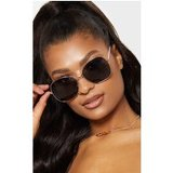 Black Oversized Square Lens Gold Metal Frame Sunglasses