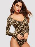 Leopard Print Form Fitting Bodysuit