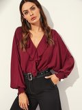 Ruffle Trim Dolman Sleeve Wrap Blouse Bodysuit