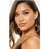 Gold Double Hoop Twisted Chain Drop Earrings
