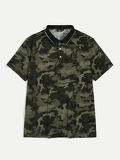 Men Striped Collar Camo Shirt