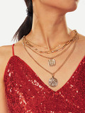 Coin Pendant Layered Chain Necklace 1pc