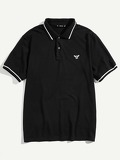 Men Striped Trim Embroidered Polo Shirt