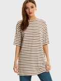 Drop Shoulder Longline Striped Tee