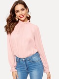 Plain Frilled Collar and Cuff Pleated Blouse