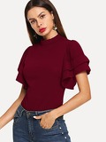 Layered Flutter Sleeve Mock Neck Top
