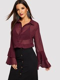 Flounce Sleeve Sheer Dot Jacquard Top