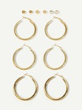Plain Hoop & Stud Earrings 6pairs