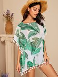 Tassel Hem Tropical Print Cover Up Top