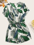 Surplice Tropical Drawstring Waist Playsuit