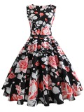 50s Floral Print Zipper Belted Dress