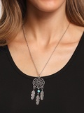 Cut Out Circle Pendant With Turquoise&Carved Feather Necklace