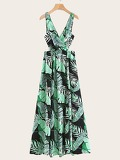 Tropical Print Crossover Split Maxi Dress