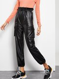 Paperbag Waist Drawstring Hem Faux Leather Pants
