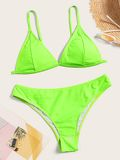 Neon Lime Triangle Top With Panty Bikini Set