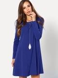 Long Sleeve Solid Swing Tee Dress