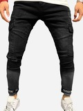 Men Ripped Detail Letter Print Jeans