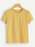 Striped Frill Cuff Tee
