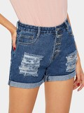 Button Front Cuffed Distressed Denim Shorts