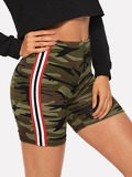 Striped Side Camo Cycling Shorts
