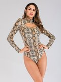Cut Out Front Snake Print Bodysuit