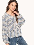 Single Breasted Plaid Blouse