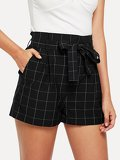 Wide Waist Self Belted Grid Shorts