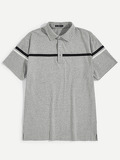 Men Striped Tape Polo Shirt
