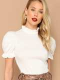 Frill Neck Puff Sleeve Solid Tee