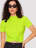 Mock Neck Rib-knit Form Fitted Neon Top