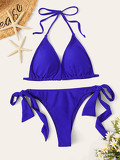 Halter Top With Tie Side Bikini Set