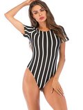 Striped Round Neck Bodysuit