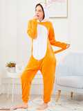 Neon Orange Zip Front Plush Fox Onesie