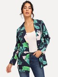 Notched Collar Jungle Leaf Print Blazer