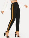 Contrast Panel High Waist Pants