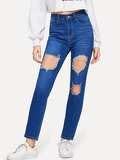 Contrast Stitch Ripped Jeans