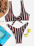 Knot Front Top With Random Striped High Leg Bikini