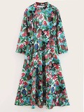 Mock Neck Floral Print Dress