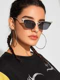 Metal Detail Semi Rimless Cat Eye Sunglasses