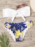 Bandeau Top With Random Tropical Scalloped Trim Bikini