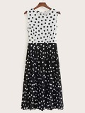 Polka Dot Pleated Tank Dress