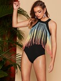 Ombre Fringe Patched Racer Back Bodysuit