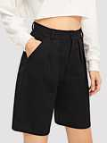 Pocket Side Solid Shorts